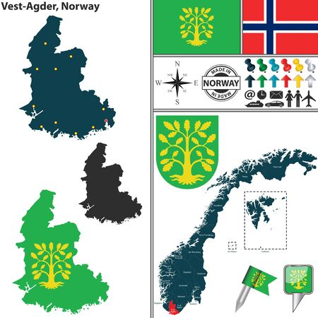 kristiansand: Vector map of county Vest Agder with coat of arms and location on Norwegian map