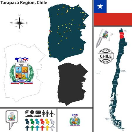 regions: Vector map of Tarapaca region and location on Chilean map Illustration
