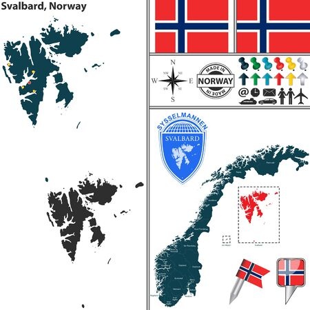 unincorporated: Vector map of county Svalbard with coat of arms and location on Norwegian map