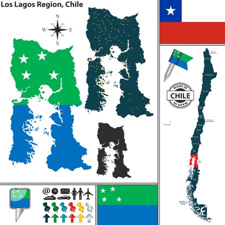 lagos: Vector map of Los Lagos region and location on Chilean map