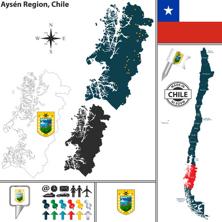 del: Vector map of Aysen del General Carlos Ibanez del Campo region and location on Chilean map Illustration