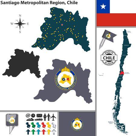 santiago: Vector map of Santiago Metropolitan region and location on Chilean map