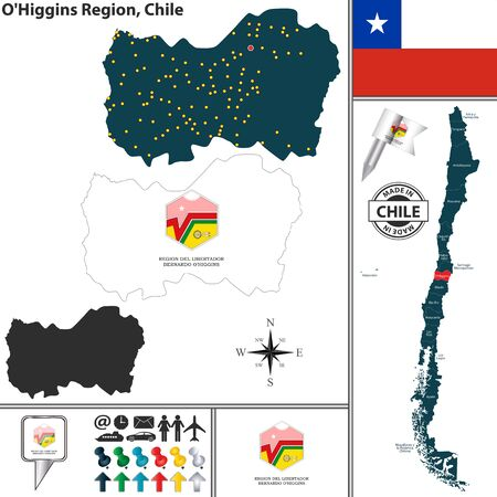 Vector map of OHiggins region and location on Chilean map