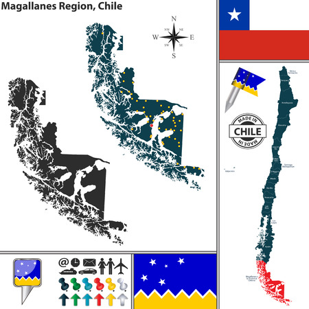 magallanes: Vector map of Magallanes region and location on Chilean map