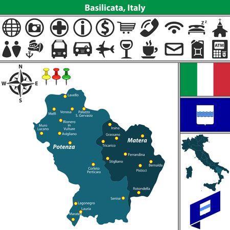 Vector Map Of Emilia Romagna With Regions And Location On Italy