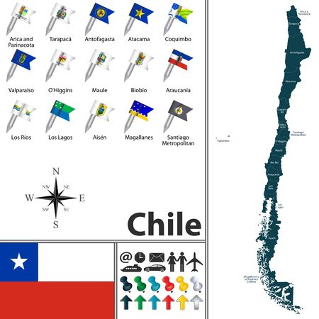 antartica: Vector map of Chile with regions with flags