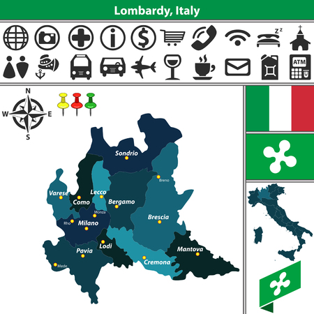 province: Vector map of Lombardy with regions and location on Italy map