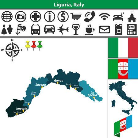 리구 리아와 이탈리아지도상의 지역 및 위치가있는 벡터지도