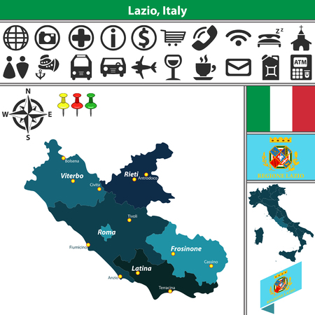 Vector map of Lazio with regions and location on Italy map