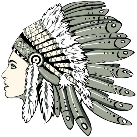 indian headdress: Vector of beautiful girl with traditional chief headdress of American Indian. Boho style. Illustration