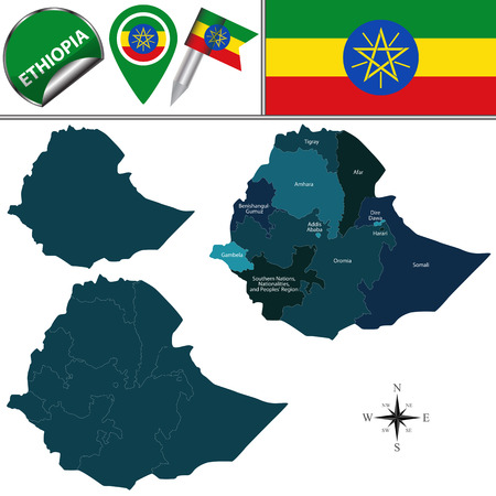afar: Vector map of Ethiopia with named regions and travel icons