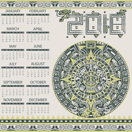 Vector calendar 2018 in aztec style with actec calendar
