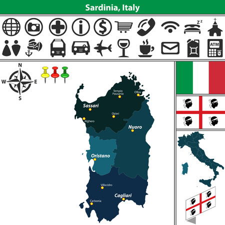 sardinia: Vector map of Sardinia with regions and location on Italy map
