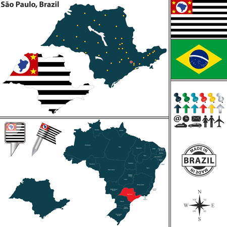 Vector map of region of Sao Paulo with flags and location on Brazilian map