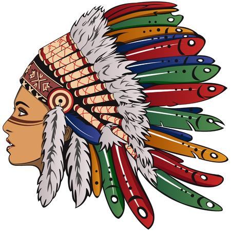 Vector der schönen Mädchen mit traditionellem Chefkopfschmuck von American Indian. Boho-Stil. Standard-Bild - 69933200