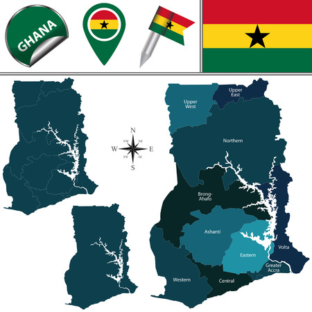 named: Vector map of Ghana with named region and travel icons