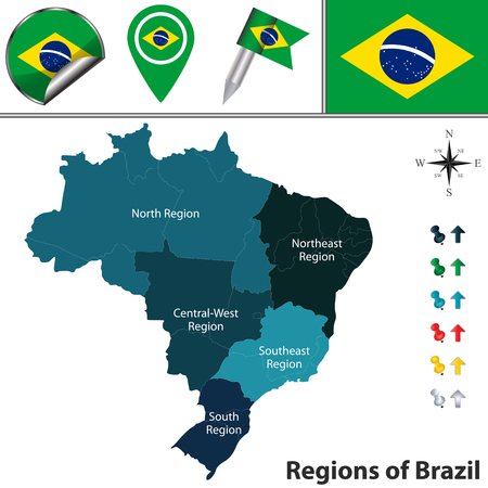 Vector map of Brazil with named regions and travel icons