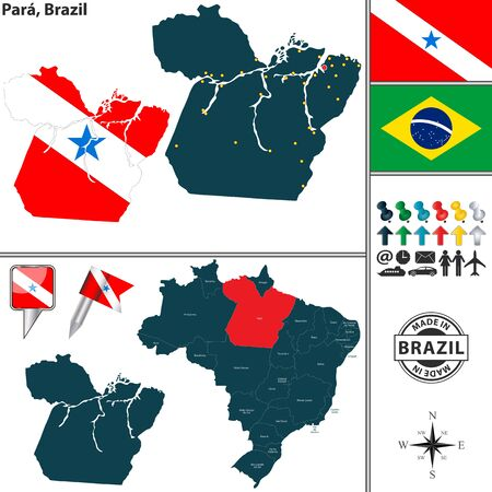 para: Vector map of region of Para with flags and location on Brazilian map
