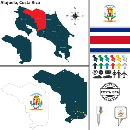Vector map of province Alajuela with flag and location on Costa Rican map