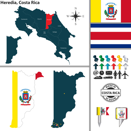 Vector map of province Heredia with flag and location on Costa Rican map