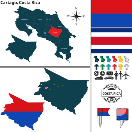 Vector map of province Cartago with flag and location on Costa Rican map