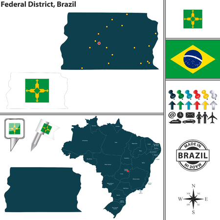 federal district: Vector map of region of Federal District with flags and location on Brazilian map