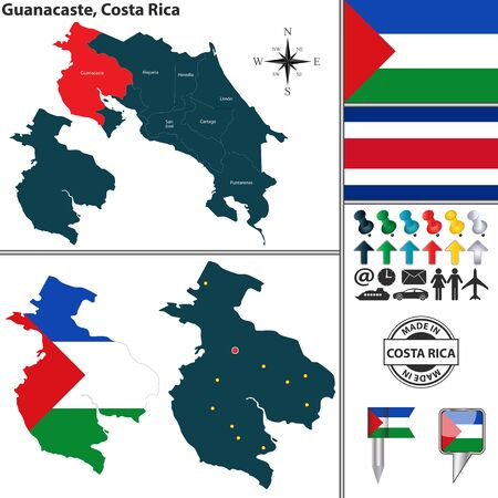 Vector map of province Guanacaste with flag and location on Costa Rican map Ilustração