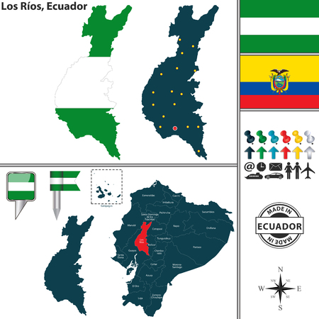 Vector map of province of Los Rios with flags and location on Ecuadorian map