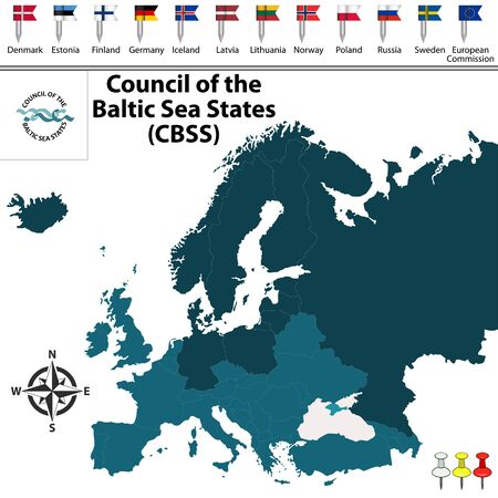 baltic sea: Vector map of Council of the Baltic Sea States (CBSS) with buttons and flags on white background