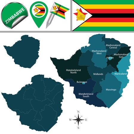 divisions: Vector map of Zimbabwe with named provinces and travel icons Illustration