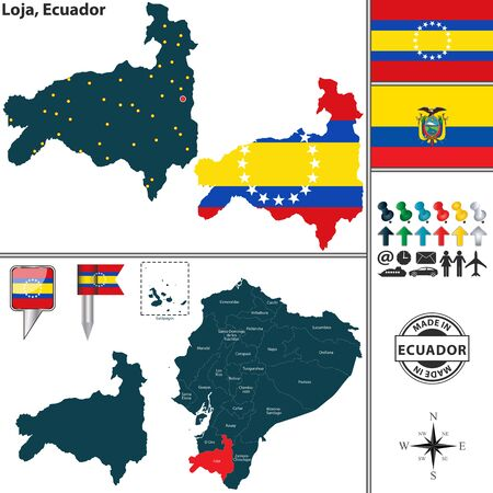 Vector map of province of Loja with flags and location on Ecuadorian map Illustration