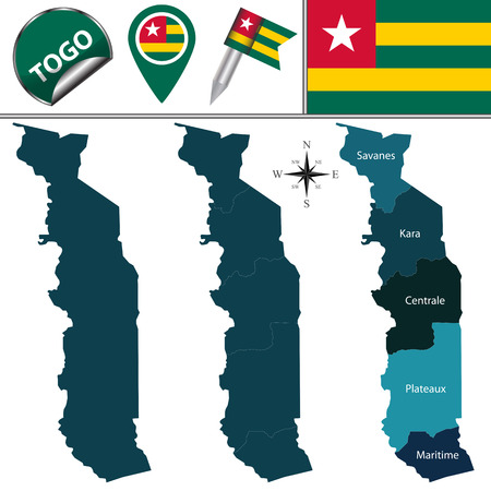 named: Vector map of Togo with named regions and travel icons