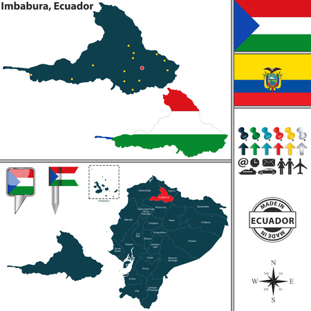 Vector map of province of Imbabura with flags and location on Ecuadorian map