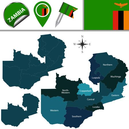 named: Vector map of Zambia with named provinces and travel icons
