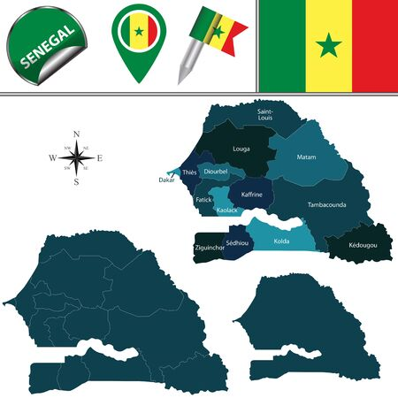 named: Vector map of Senegal with named regions and travel icons Illustration