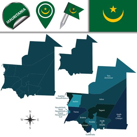 mauritania: Vector map of Mauritania with named regions and travel icons Illustration