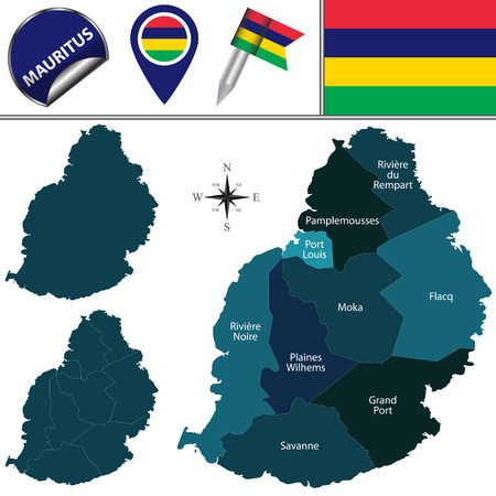 mauritius: Vector map of Mauritius with named districts and travel icons