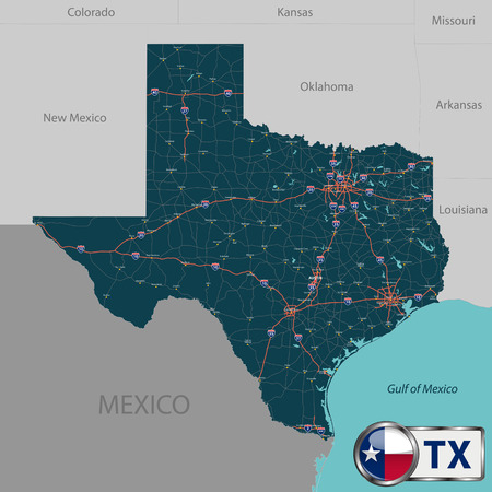 neighboring: Set of Texas state with roads map, cities and neighboring states. Illustration