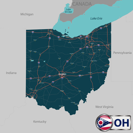 neighboring: Set of Ohio state with roads map, cities and neighboring states Illustration