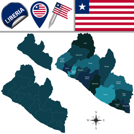 named: Map of Liberia with named counties and travel icons Illustration