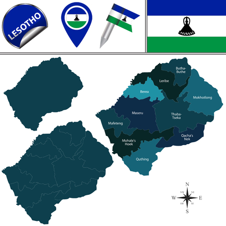 named: Map of Lesotho with named districts and travel icons