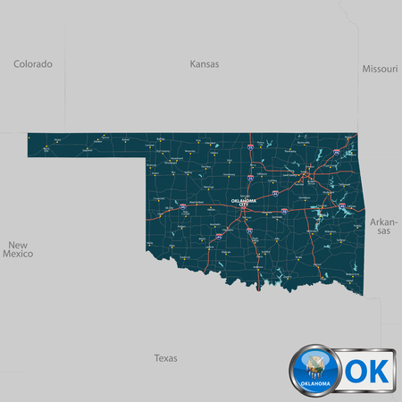 neighboring: Vector set of Oklahoma state with roads map, cities and neighboring states Illustration