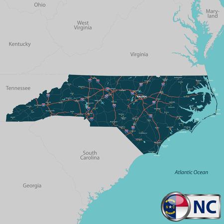 道路地図、都市や近隣州とノースカロライナ州のベクトルを設定  イラスト・ベクター素材