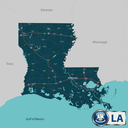 baton rouge: Vector set of Louisiana state with roads map, cities and neighboring states