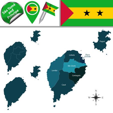 principe: Vector map of Sao Tome and Principe with named districts and travel icons