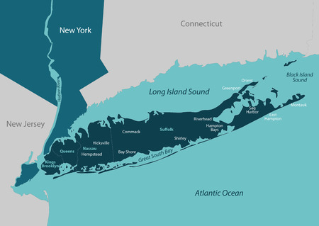 Vector map of Long Island - a region within the US state of New York 版權商用圖片 - 74884653