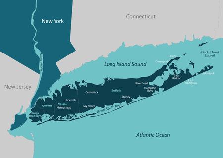 Vectorkaart van Long Island - een gebied binnen de Amerikaanse staat New York Stockfoto - 74884653