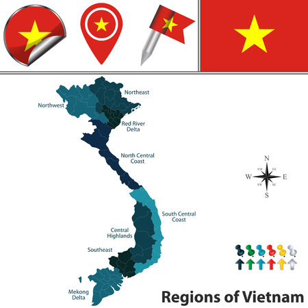 northeast: map of Vietnam with named regions, flags and icons