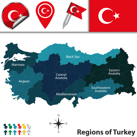 aegean: map of Turkey with named regions and travel icons