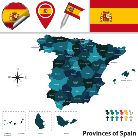 map of Spain with fifty named provinces, flags and icons